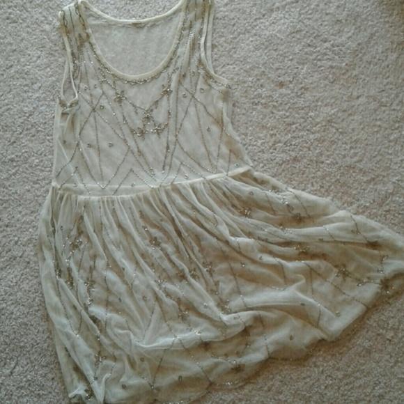 d82aa9a209a0 Free People Intimates & Sleepwear   Euc Beaded Mesh Slip Gypsy Style ...